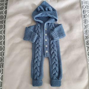 Handmade Blue Knitted Onesie 6-9M